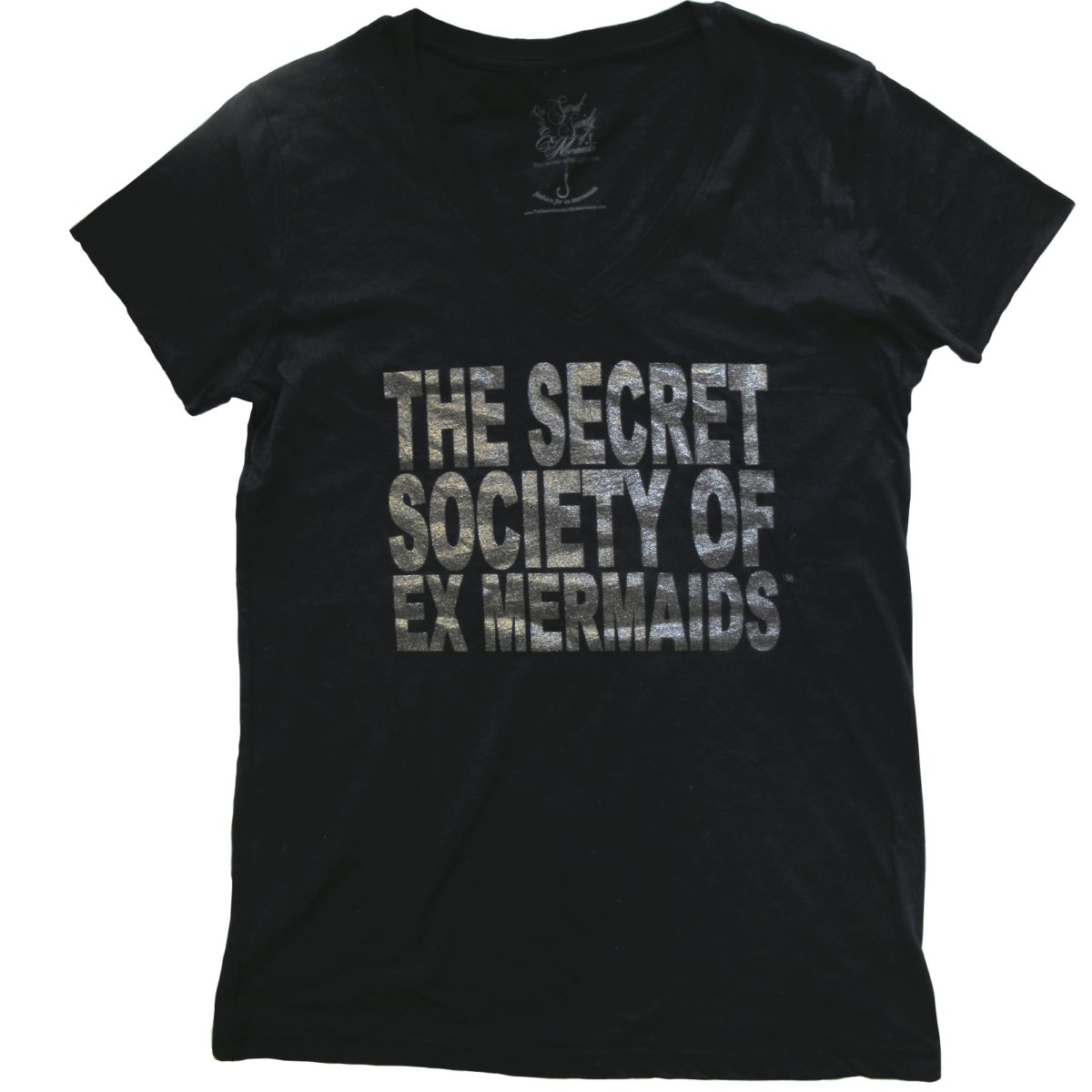 Ex Mermaid Society Tee- Black shimmer on black
