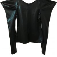 High Fashion wet look 80s style epaulette top